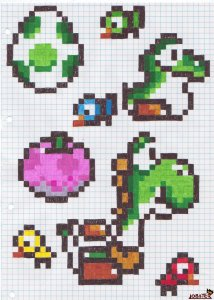 Yoshi_on_checkered_paper_by_Lobsterprince (1)