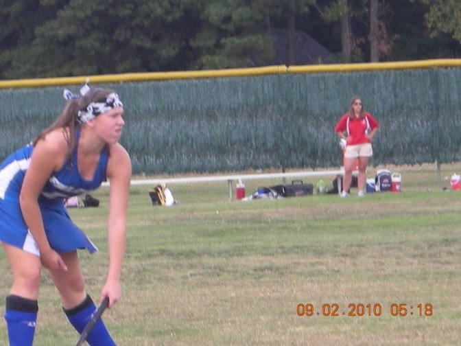 Freshman year of high school playing our opening field hockey game.